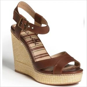 SPLENDID Brown Leather Strap 'Kutie' Wedge Sandal